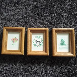 3 Hand painted watercolor small framed pictures